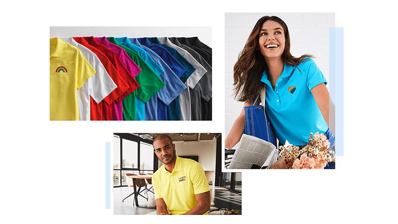 A pile of polos, dress shirts, vests, and other apparel in the pride flag colors with pride embroidery.