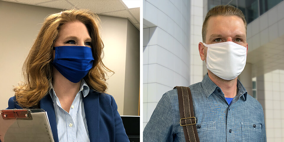 A man and a woman wearing face masks.