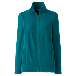 A picture of a teal fleece jacket on a gray background.