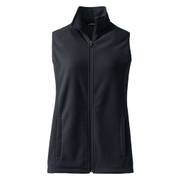 A picture of a black fleece vest on a gray background