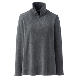 A picture of a charcoal gray fleece quarter zip on a gray background.