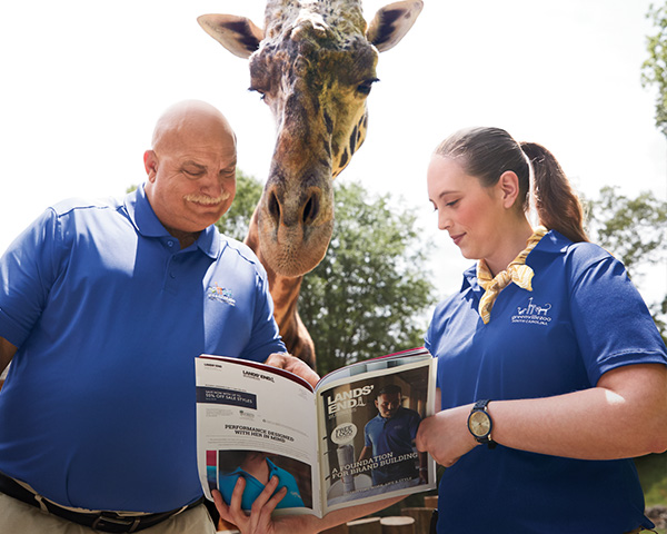 A man, a woman, and a giraffe look at a catalog in a zoo.