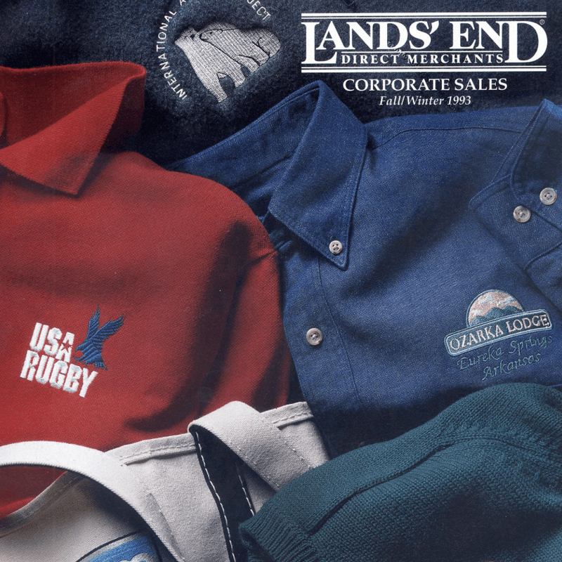 Our first catalog, published in 1993 under the name Lands' End Direct Merchants, features embroidered clothing for USA Rugby and Ozarka Lodge.