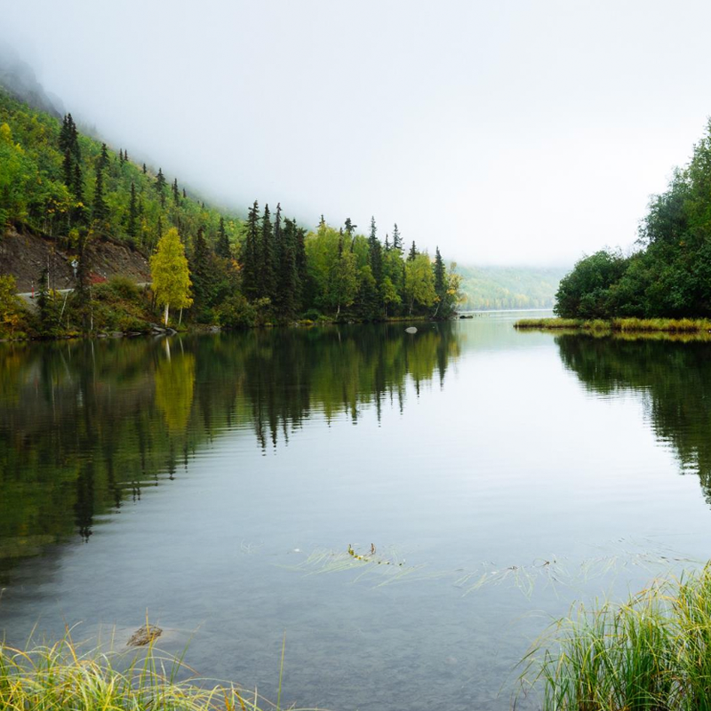 A picture of sloping hills and green trees that surround a clean and clear lake.