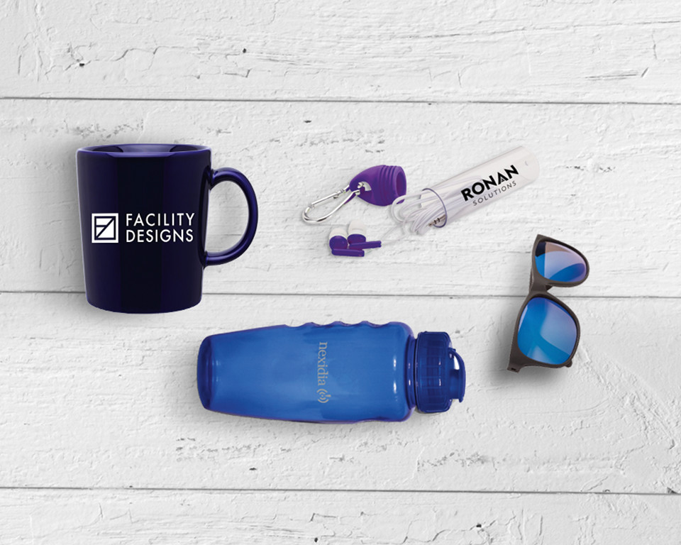 An assortment of affordable promotional products on a small budget.