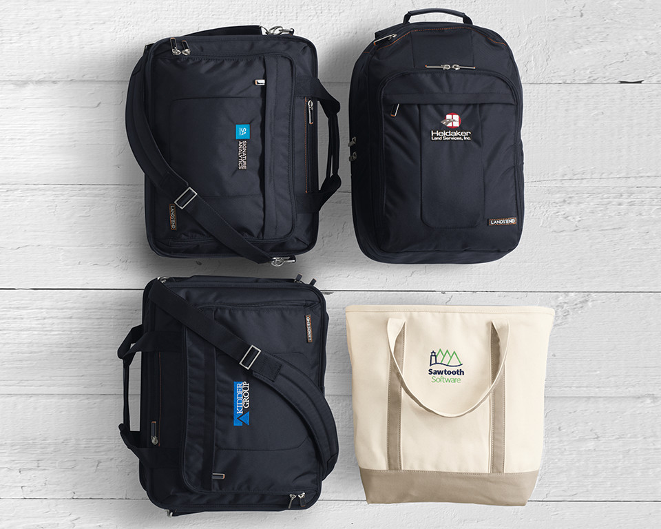An assortment of backpacks and totes
